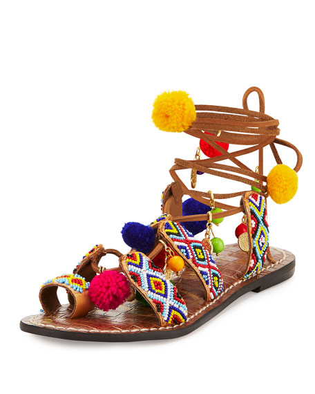 Lisabeth Beaded Pompom Sandal, Saddle/Multi