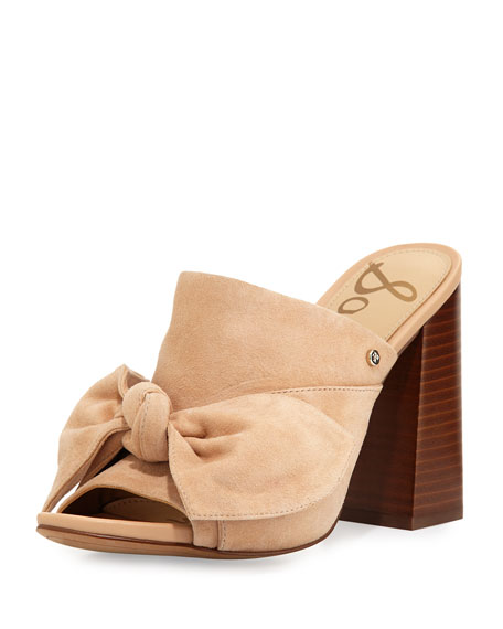 Sam Edelman Yumi Suede Bow-Top Mule Sandal, Neutral