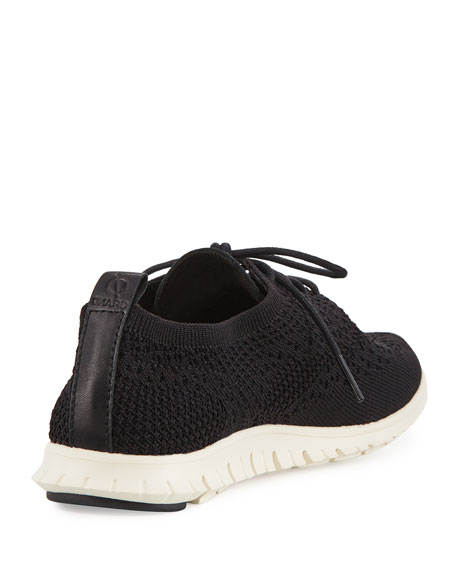 Zerogrand Knit Wing-Tip Trainer, Black