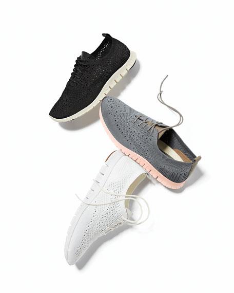 Zerogrand Knit Wing-Tip Trainer, Black