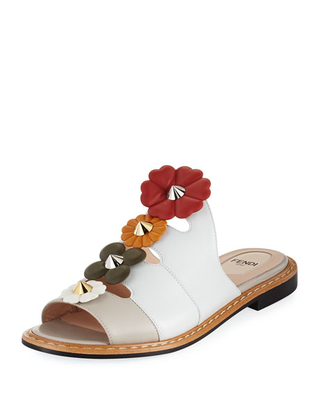 Flowerland Flat Leather Mule
