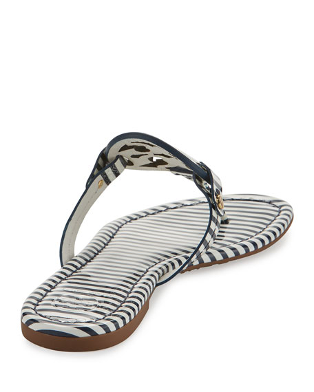 Miller Striped Flat Thong Sandal, Blue