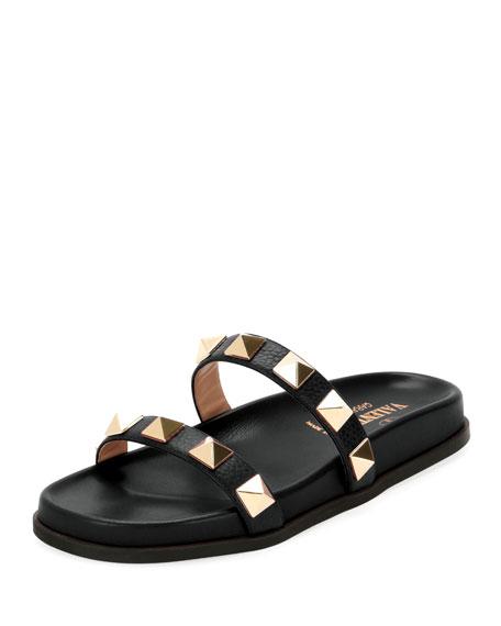Valentino Garavani Rockstud Flat Leather Slide Sandal
