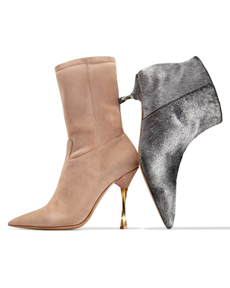 Stretch-Suede Point-Toe Mid-Calf Boot