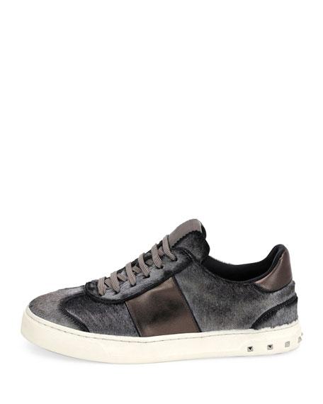 Metallic Calf Hair Sneakers, Silver