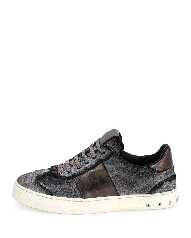 Valentino Garavani Metallic Calf Hair Sneakers, Silver