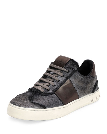 Valentino Garavani Metallic Calf Hair Sneakers, Silver