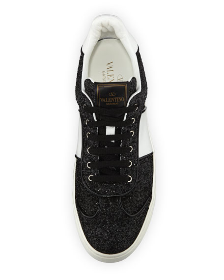 Glitter Strap Lace-Up Sneakers