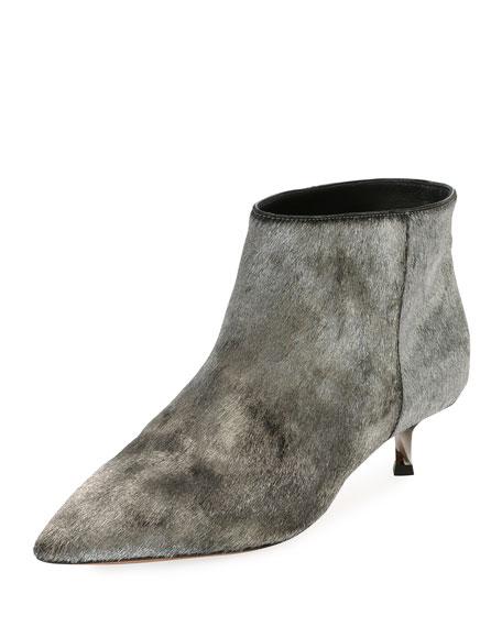 Twist Heel Low Ankle Boots, Silver