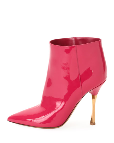 Twist-Heel Patent Ankle Booties, Fuchsia