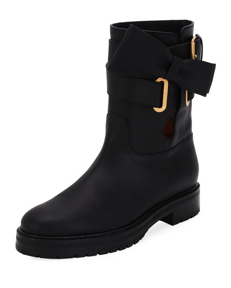 Valentino Garavani Now Wrap Vitello Biker Boot, Black