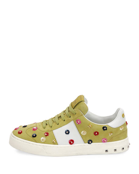 Suede Floral-Stud Low-Top Sneaker, Multi