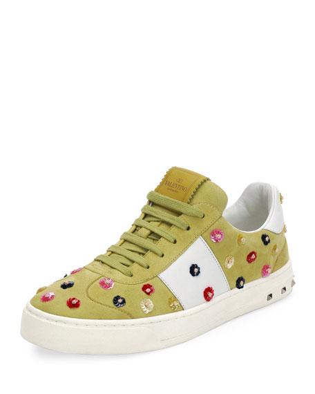 Valentino Garavani Suede Floral-Stud Low-Top Sneaker, Multi