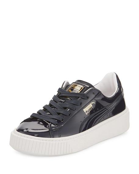 Puma Basket Patent Platform Sneaker, Dark Blue