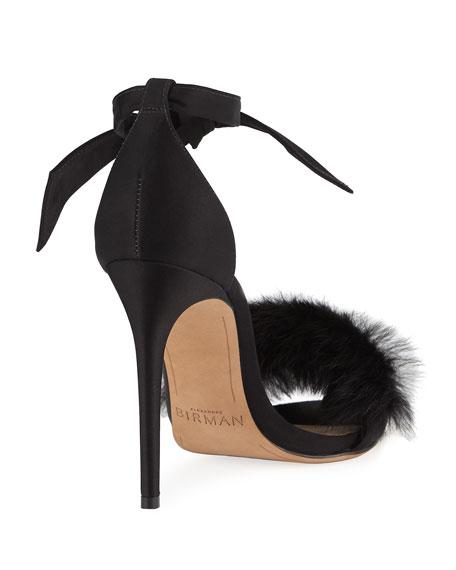 Clarita Rabbit Fur Sandal, Black