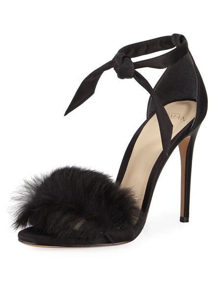 Clarita 100 Rabbit Fur & Satin Ankle-Strap Sandals