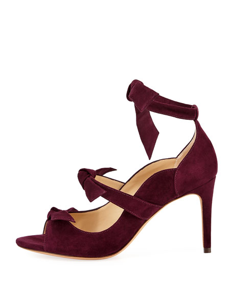 Charlotte Suede Three-Strap Pump, Wine Berry