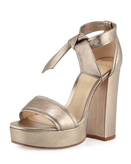Alexandre Birman Celine Platform Metallic Leather Sandal, Luna