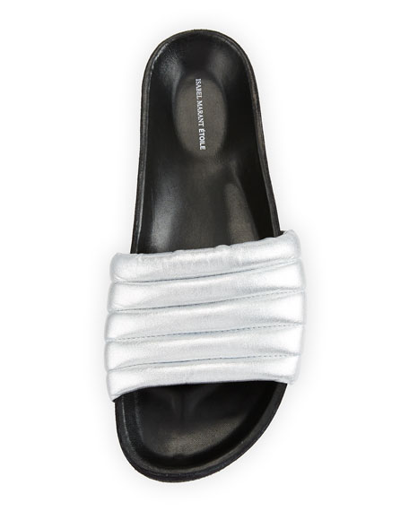 Hellea Metallic Slide Sandals, Silver