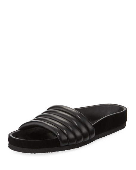 Hellea Metallic Quilted Leather Slides Isabel Marant