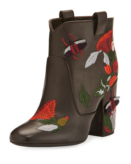 Pete Embroidered 95mm Booties, Brown