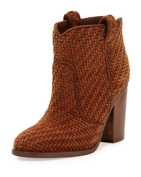Laurence Dacade Nico Woven Velvet 95mm Booties, Brown