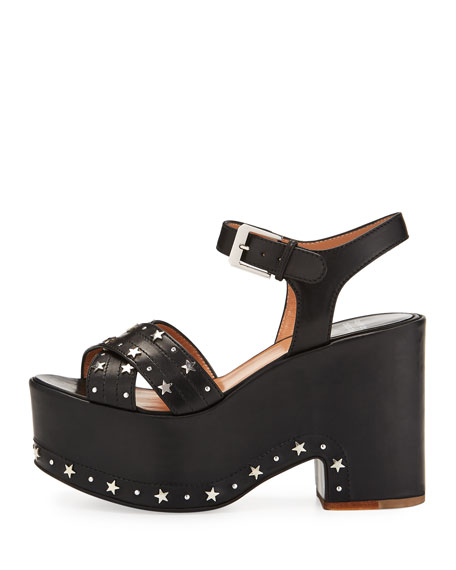 Helissa Star Studded Platform Sandals, Black