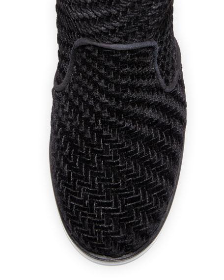 Pippo Woven Velvet 95mm Bootie, Black