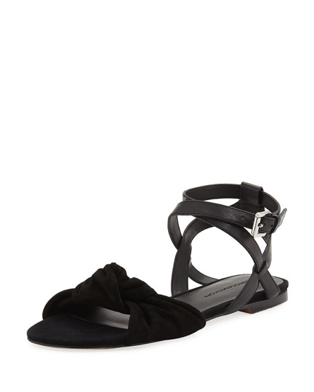 Evette Suede Flat Bow Sandal, Black