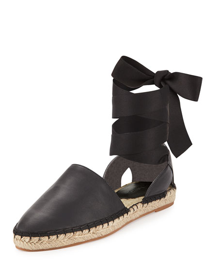 Vivien Leather Flat Espadrille, Black