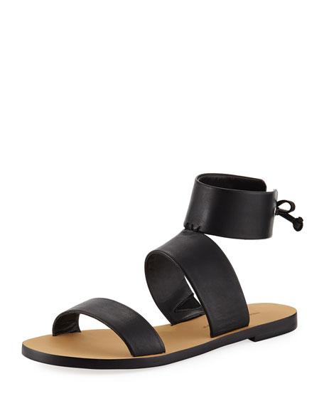 Rebecca Minkoff Emma Ankle-Wrap Flat Sandal, Black