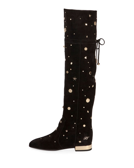 Astre Studded Over-The-Knee Boot, Black