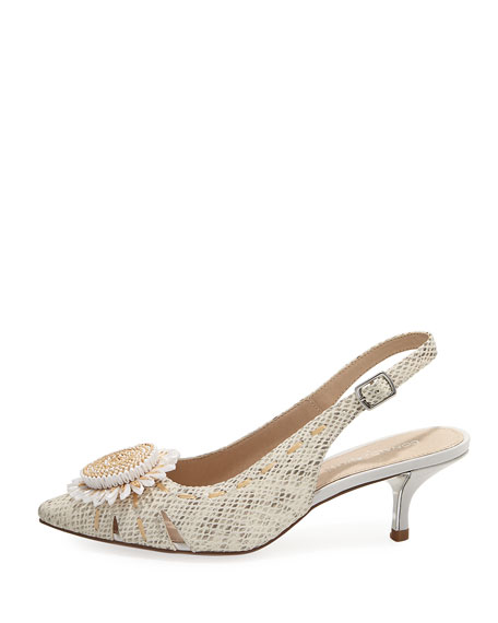 Dieme Flower Python-Print Pump, Light Gray