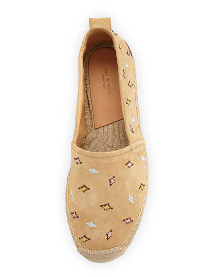 Adria Embroidered Slip-On Espadrille Flat, Camel