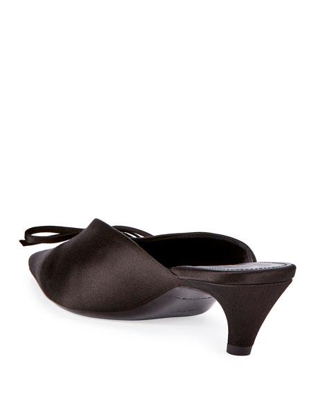 Satin Pointed-Toe Slide Mule