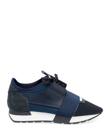 Mixed Knit Lace-Up Sneakers, Blue/Multi
