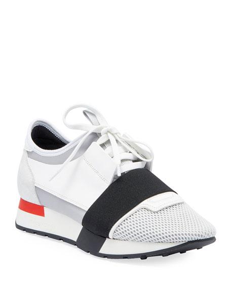 Mesh & Leather Sneaker, White/Black/Gray