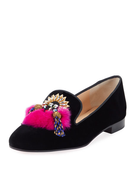 Mayamoc Fur-Detail Velvet Red Sole Loafer, Black