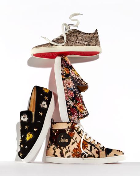 Kasta Flor Embellished Velvet Skate Sneaker