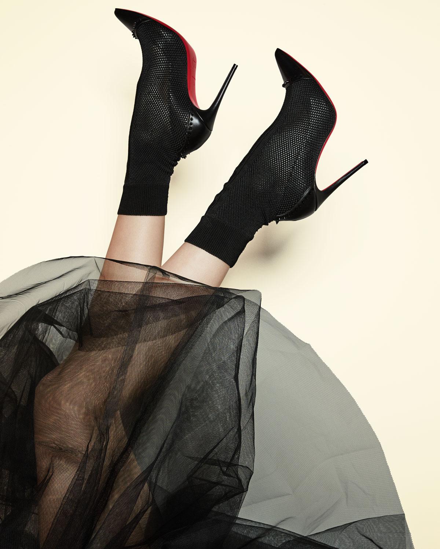 3c592fcadc2 Dovi Dova Knit Red Sole Booties, Black