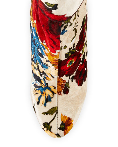 Moulamax Floral Velvet 100mm Red Sole Bootie