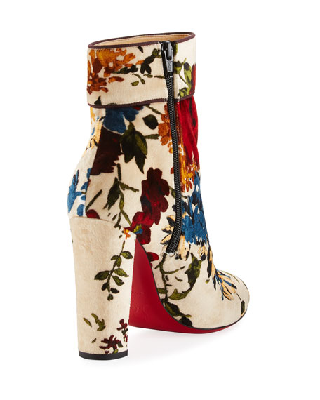 Moulamax Floral Velvet 100mm Red Sole Bootie