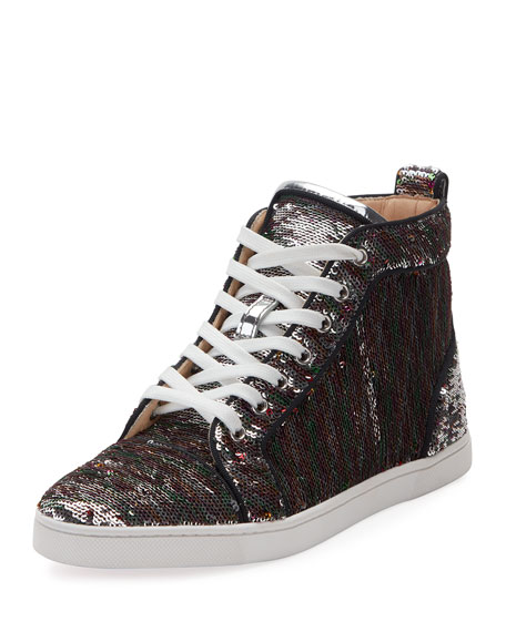 Christian Louboutin Bip Bip Sequined Red Sole High-Top