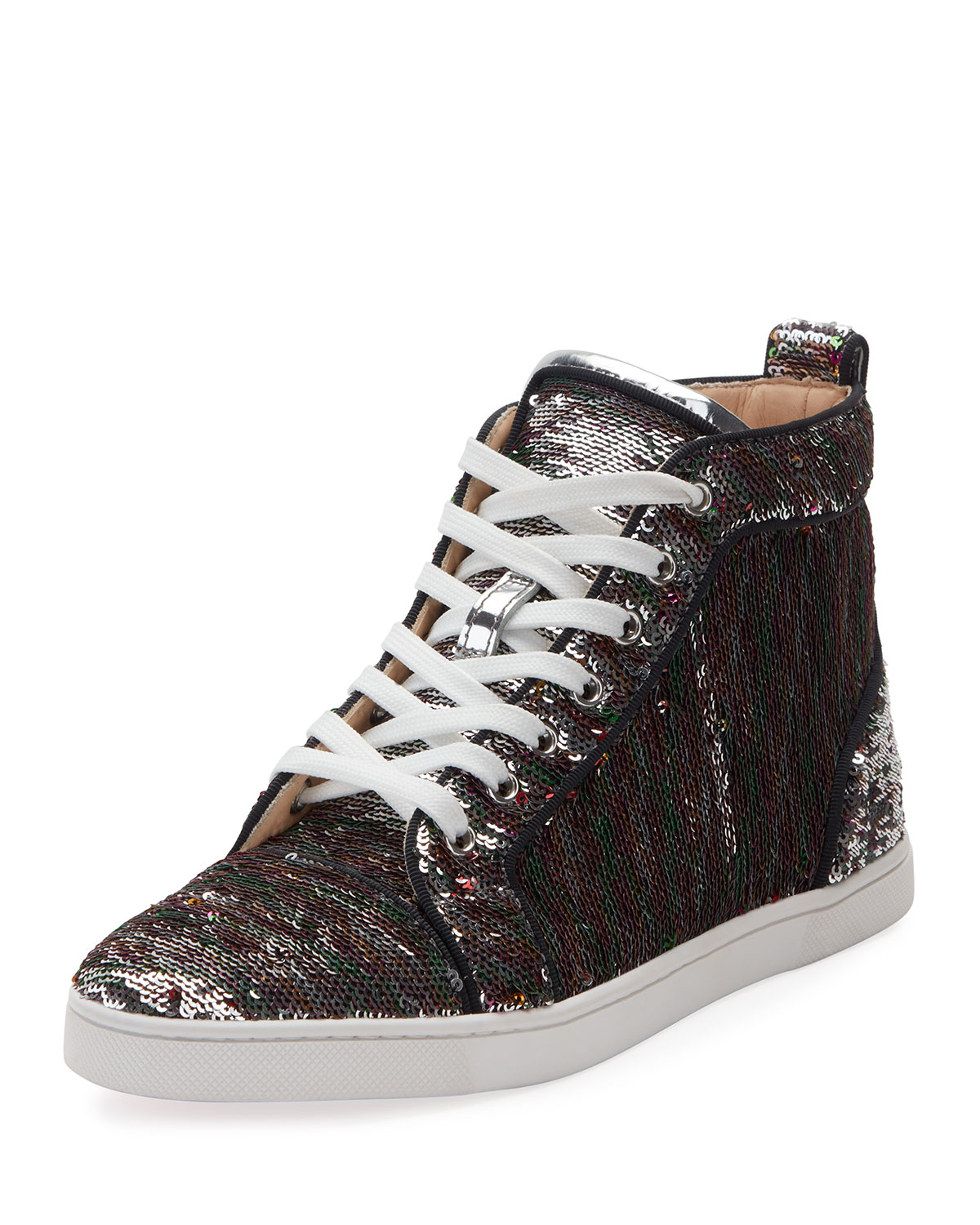 f86294ee4d02 Christian Louboutin Bip Bip Sequined Red Sole High-Top Sneaker ...