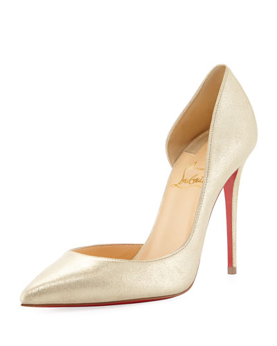 Iriza 100mm Metallic Suede Red Sole Pump