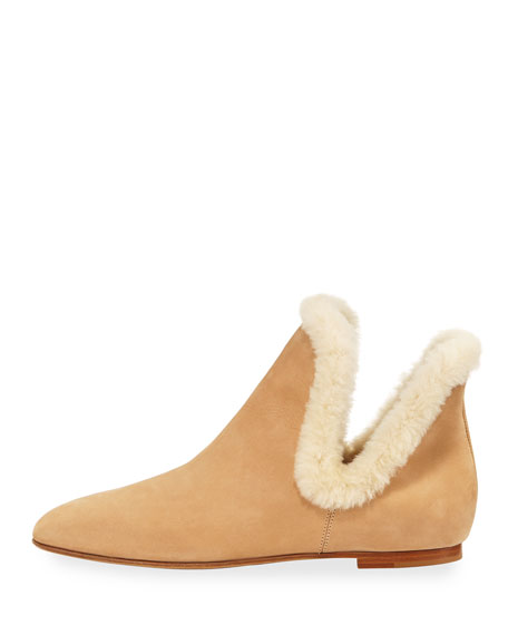 Eros Shearling-Trimmed Nubuck Boots
