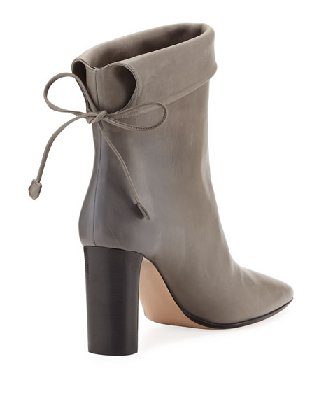 Emil Leather Tie-Back Boot, Gray