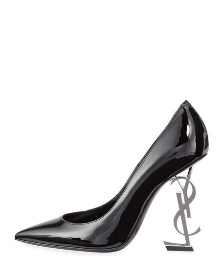 Opyum Patent Pump with Monogram Heel, Black/Silver