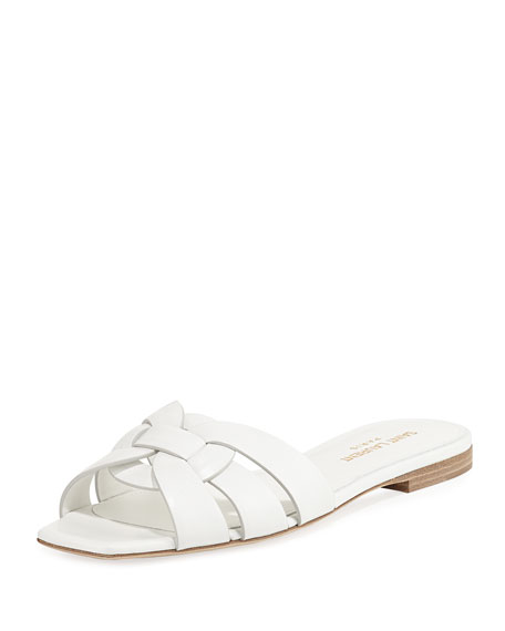 Saint Laurent Nu Pieds Flat Slide Sandal, White