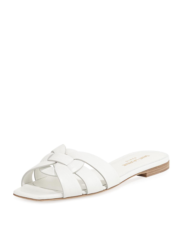 e34208134432 Saint Laurent Nu Pieds Flat Calf Leather Slide Sandal